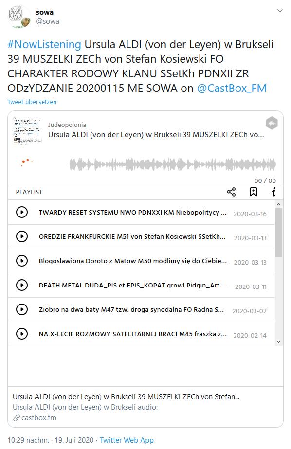 Screenshot_2020-07-19 sowa auf Twitter #NowListening Ursula ALDI (von der Leyen) w Brukseli 39 MUSZELKI ZECh von Stefan Kos[...]