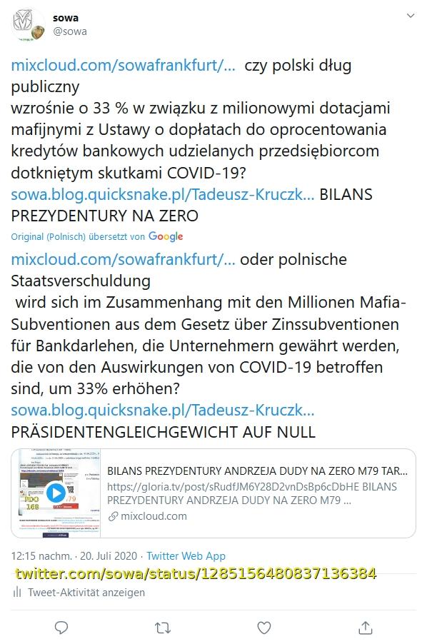 Screenshot_2020-07-20 sowa auf Twitter https t co EYkDxXtDX9 czy polski dług publiczny wzrośnie o 33 % w związku z milionow[...]